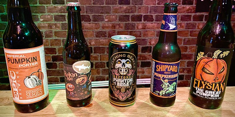 Shown are the five Halloween season beers featured on Episode 8 of the Life in 16 oz. podcast.