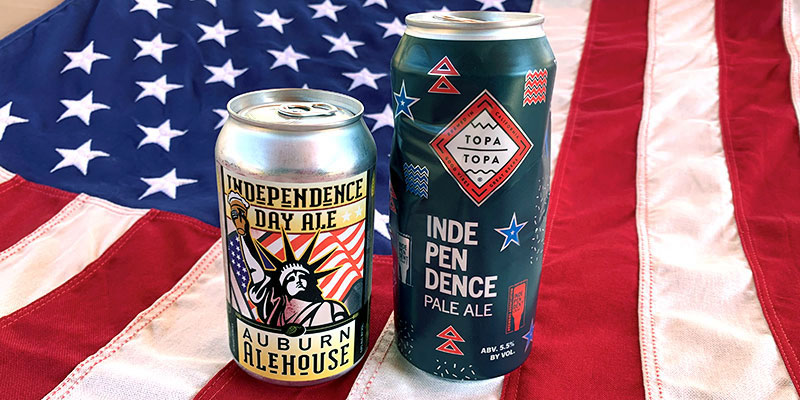 Pictured on the left, Auburn Alehouse's Independence Day American Pale Ale. On the right is Topa Topa Brewing Company's Independence Day American Pale Ale.