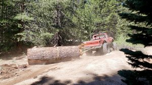 A member of the Kingsburg 4 Wheel Drive Club uses his truck to haul away a portion of an enormous tree trunk behind it. The girth of the trunk appears much heavier than the truck pulling it along a dirt road.