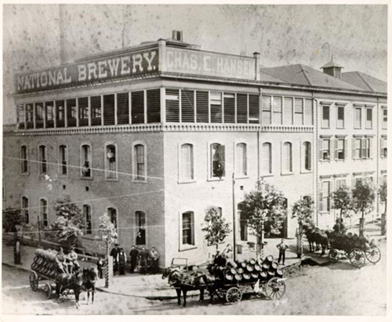 An historical black and white photo of a San Francisco brewery.