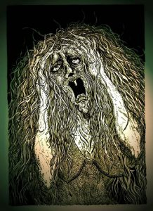A piece of art by Andy Paciorek depicts the image a wailing banshee from folklore.