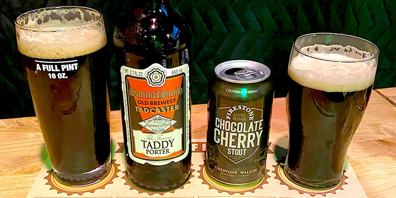 a full pint and bottle of Samuel Smith's Taddy Porter and a can and pint of Firestone's Chocolate Cherry Stout.
