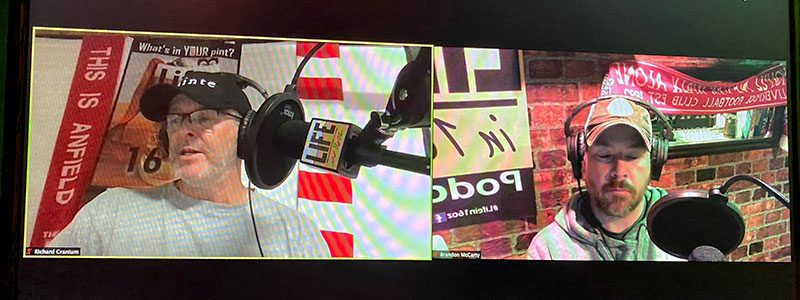 Paul and Brandon are shown in side by side windows of a computer monitor as they record this month's podcast.