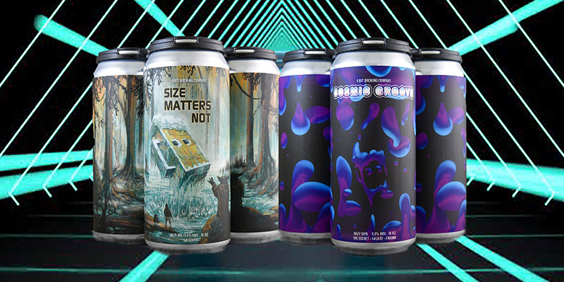 Three cans of beer with a Star Wars-ish theme called Size Matters Not are seen alongside three cans of psychedelic purple lava lamp-looking beer cans. All six are superimposed onto a Tron movie-ish-looking background also reminiscent of a Tron movie.