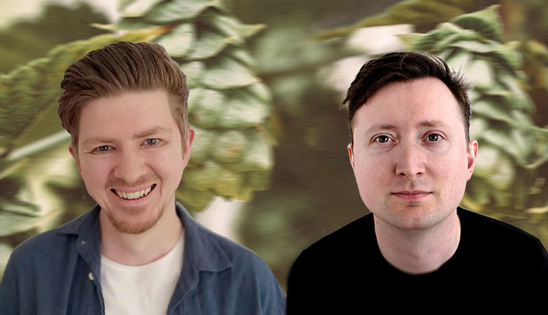Matt Bone and Peter Wellington superimposed on a background featuring a slightly blurred close-up of a hops plant.